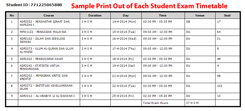 Each Student Print Out