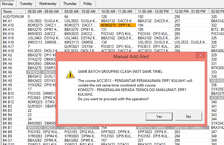 Example of Notification for Same Batch Clashing